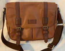 Fossil Messenger, Satchel, Tote Cross Body Travel Bag Two Tone Leather Laptop