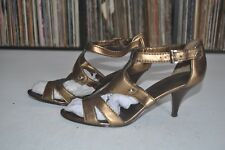 Nine West Gold Women's Strap On Heel Sandal 8.5 M
