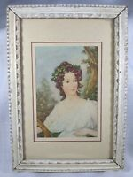 SMALL ANTIQUE FRAMED PRINT PRETTY ROMAN OR GREEK WOMAN -- 4 X 6 IN. -- DOVER, NJ