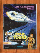 Tin Sign Disney R2D2 C3Po Star Tours Movie Star Wars Ride Art Poster