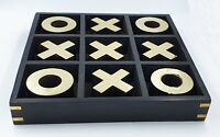 Wooden Tic Tac Tak Toe/ Noughts and Crosses Board IQ Brain Teaser Game Black