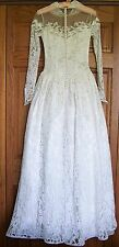 Beautiful Vintage 1952 Maurer Original Wedding Dress Gown Lace Satin Sz 0/2