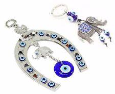 Set of 2~ Blue Evil Eye Elephant Horse Shoe Amulet + Elephant Key Ring Chain