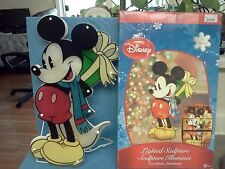 "Disney Mickey Mouse With Christmas Present  Lighted Sculpture 19"" RARE NEW"