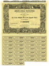 Compagnie Generale Transatlantique Bond Certificate. France