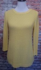 Talbots yellow light weight knit top long sleeve pull over size M petites