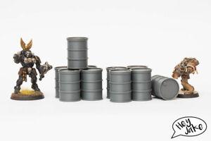 Wargaming terrain barrel set of 10 - 40K, Necromunda, Killteam etc.