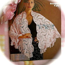 Vintage 70s Crochet Pattern Lady's 'Abstract' Shawl 60x24in. Without Fringe
