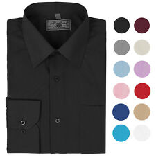 Boltini Italy Men's Long Sleeve Solid Barrel Cuff Dress Shirt