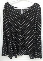 Express Women's Size XL V-neck Boho Black Floral Top Bell Sleeves High Low Hem