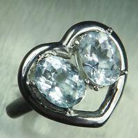 Natural light blue Aquamarine 925 silver 9ct 14k 18k Gold engagement heart ring
