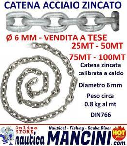 CATENA CALIBRATA ACCIAIO ZINCATO Ø 6 mm salpa ancora zincata MT 25, 50, 75, 100