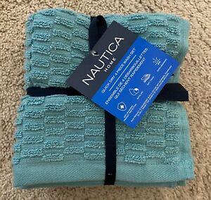 NWT Nautica Home Teal Blue 4-Piece Washcloth Pack Set 100% Cotton India 13x13