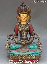 "14"" Chinese Buddha Turquoise&Red Coral Amitayus longevity God Goddess Statue"