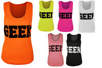 New Womens Geek Print Neon Sleeveless Vest Ladies Fluorescent Scoop Top 8-14