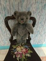 Vintage Teddy Tongue Bear 18 Inch Grey Plush Handmade Artist OOAK Jointed
