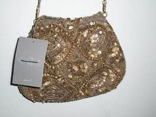 Anthropologie Gold Beaded & Sequins Yesteryear Pouch Bag NWT/NWD S/O $88