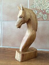 SALE ITEM WOODEN HORSE PONY HEAD BUST 20CM HAND CARVED FAIRTRADE