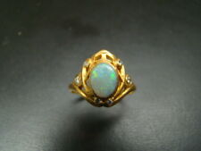 14K Gold Art Nouveau style Opal and diamond ring