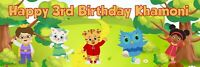 """36"""" x 12"""" Personalized Daniel Tiger & Friends Birthday Party Banner - NAME & AGE"""