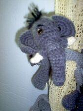Crochet Elephant tie backs, pr, gray