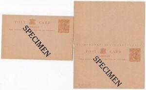 1920s?  2 x ZANZIBAR POSTAL STATIONERY 'SPECIMEN' OVERPRINTED CARD & REPLY CARD