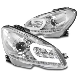 For 12-14 Mercedes-Benz W204 C-Class LED Tube Projector Headlights Lamps Chrome