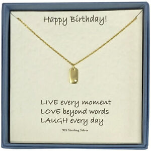 Happy Birthday Ladies 14ct Gold Plated Tiny Dog Tag Pendant and Necklace