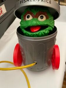 Muppets Fisher Price Sesame Street Oscar The Grouch Garbage Can Pop Up Toy 1977