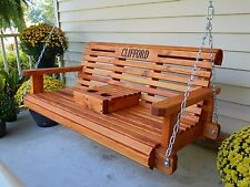 Charming 4ft Handmade Southern Style Round Faced Redwood Stained Wood Porch Swing, Patio