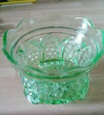 ART DECO HOBNAIL PRESSED URANIUM GLASS BOWL PART OF TABLE CENTREPIECE FOR FLOWER