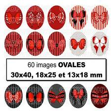 60 Images digitales cabochons noeuds papillons ROUGE 30X40 18x25 13x18 mm OVALE