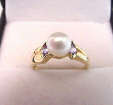 CULTURED AKOYA PEARL and MARQUISE SHAPE NATURAL TANZANITE 14K GOLD RING