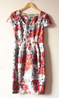 Fenn Wright Manson floral print short sleeve silk cotton blend dress UK 8