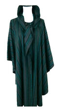Womens Vintage Wool Hooded Maxi Cape Poncho Kimono Size 14 Blue Striped Rare