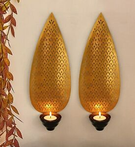 Metal Candle Holder Tealight 2 Pcs Wall Hanging Wall Sconces Home Décor Art Set