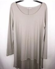 Bryn Walker Tunic Size Large Lagenlook USA Soft Taupe Stretch Modal Long Sleeve