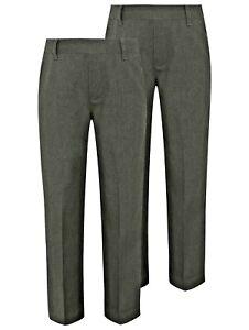 Pack of 2 - Boys Pull Up School Trousers Elastic Waist 3-8 Years Black Grey