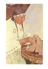 Vintage Postcard Native American Indian Teslin Yukon Territory Postmark Stamp