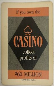 1989 TRUMP THE GAME BOARD GAME PART ONLY, $60 MILLION CASINO CARD