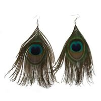 1 Pair Peacock Multicolor Feather Fashion Dangle Earrings B2D6
