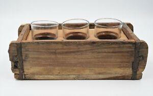 Getränketräger Teelicht Holzkiste rustikal 3 Gläser Kerzenständer Vintage Eisen