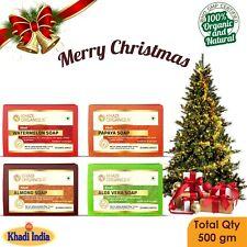 Papaya Aloe Vera Watermelon Almond Khadi Soaps Christmas Gift 100% Organic Combo