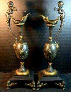 Antique Pair of Gilt Bronze and Black Patina Ewers/Pitchers