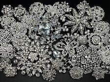 Lot 30pc Mixed Alloy Sliver Rhinestone Crystal Brooches Pins DIY Wedding Bouquet