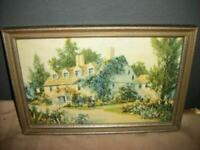 ANTIQUE FLOWER COVERED COTTAGE PRINT TINTO GRAVURE 1930 SILVER WOOD FRAME