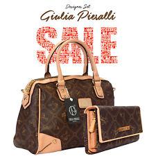 Damentasche Handtasche Schultertasche + Portemonnaie Braun Giulia Pieralli 2622B