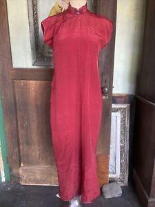 Antique 1930s red silk cheongsam qipao ponku closure brocade  Chinese