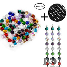 100PCS Colorful Crystal Glass Octagon Beads DIY 100pcs Pins Prisms Chain 14mm