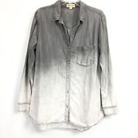 Cloth and Stone Womens Large Shirt Gray Ombre Chambray Button Down Top Blouse